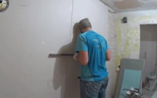 Как приклеить гипсокартон к стене из пеноблока