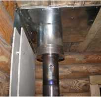 Как вывести трубу в бане через потолок